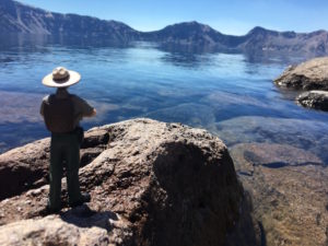 """Nate Parker"" takes in the view at Crater Lake National Park"