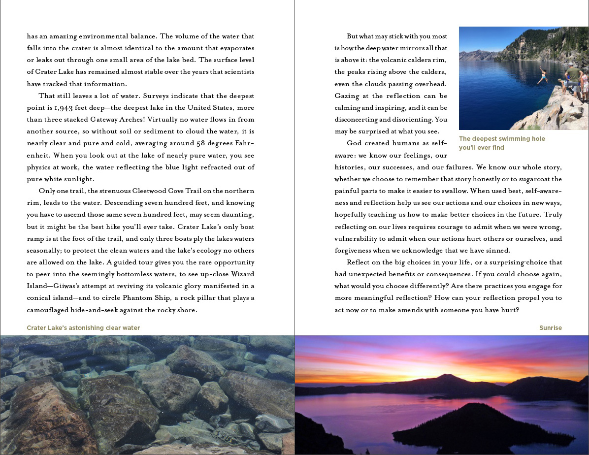 America's Holy Ground sample page of Crater Lake National Park